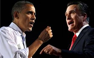 Photomontage de Barack Obama et Mitt Romney.