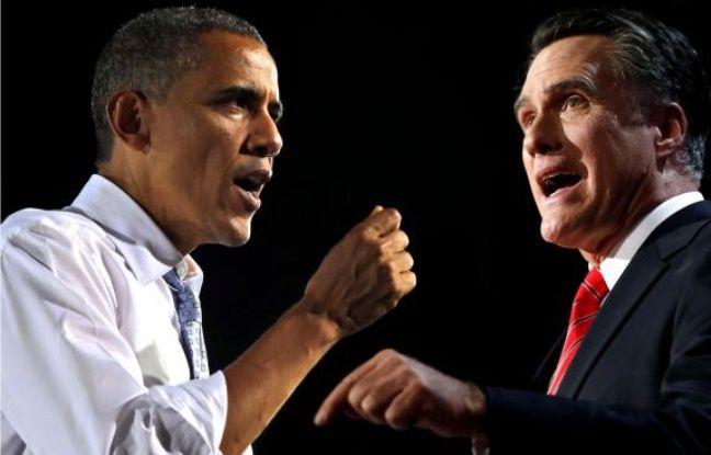 Photomontage de Barack Obama et Mitt Romney.
