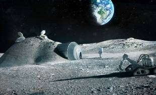 Le projet de village lunaire imaginé par l'Agence spatiale européenne en partenariat avec avec l'agence d'architecture Foster + Partners.