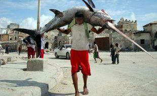 Un pêcheur porte un poisson sur le port de Mogadicio en Somalie, le 8 novembre 2011