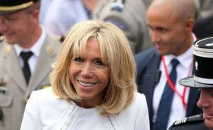 Brigitte Macron, épouse du président Emmanuel Macron, le 14 juillet 2019 place de la Concorde