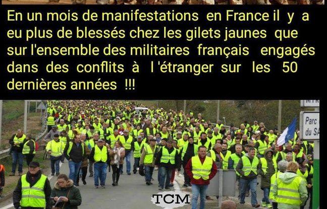 Le comparatif sur le nombre de blessés chez les «gilets jaunes» et les soldats français.