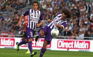 L'attaquant de Toulouse Martin Braithwaite contre Lorient (1-0) au Stadium, le 25 septembre 2013lors de la septième journée de Ligue 1.