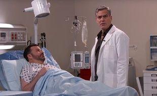 George Clooney et Jimmy Kimmel dans un sketch parodique d'Urgences