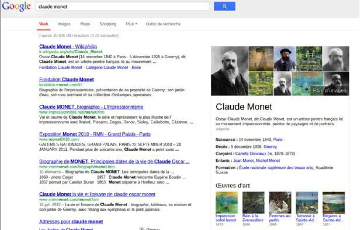 Un exemple de recherche Google avec le «graphe du savoir». – Google