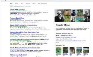Un exemple de recherche Google avec le «graphe du savoir».