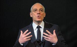 """Stephane Richard, le PDG d'Orange donne un discours lors de l'événement """"Essentiels 2020"""" le 17 mars 2015 à Paris"""