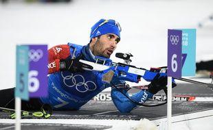 Le Français Martin Fourcade au relais mixte de biathlon le 20 février 2018.