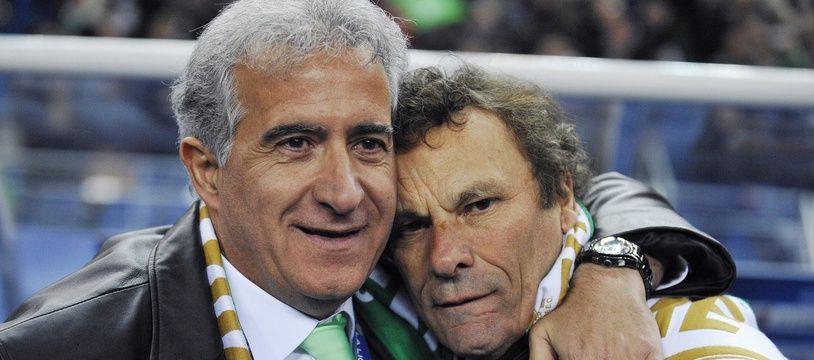 Bernard Caïazzo et Roland Romeyer, ici lors du seul titre remporté durant leur présidence commune à l'ASSE, la Coupe de la Ligue 2013.