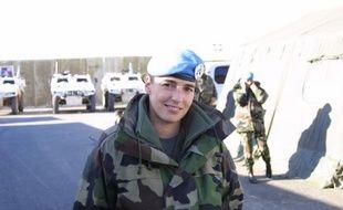 Le lieutenant Trimouillas, casque bleu français de la Finul, au Sud-Liban, le 6 janvier 2009.