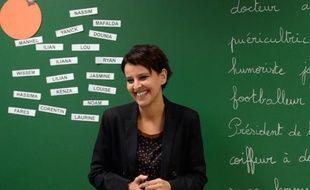La ministre des Droits des femmes vient présenter l'ABCD de l'égalité dans une école de Villeurbanne près de Lyon, le 13 janvier 2014
