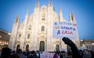 Manifestation pour réclamer le retour de l'enseignement en présentiel à Milan, le 8 janvier.
