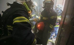 Archives. Strasbourg le 11 février 2015. Exercice des sapeurs pompiers du Bas-Rhin.