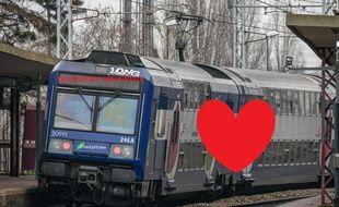 La SNCF met en place des opérations pour la Saint-Valentin sur différentes lignes RER ou Transilien. (Illustration avec un cœur)