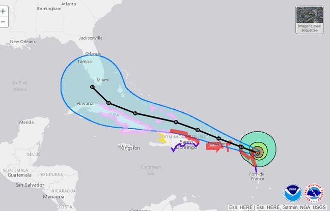 La position d'Irma le 6 septembre à 5h du matin (heure française).