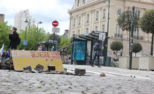 La manifestation contre la loi Travail du 28 avril 2016 à Rennes où un étudiant avait perdu un oeil et un policier visé par un tir de cocktail molotov.