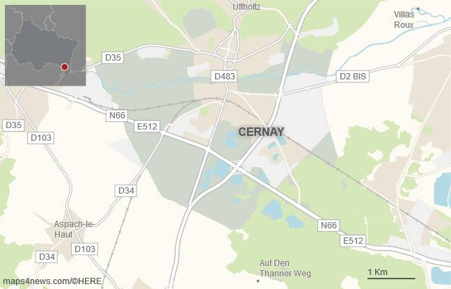 La commune de Cernay, dans le Haut-Rhin.