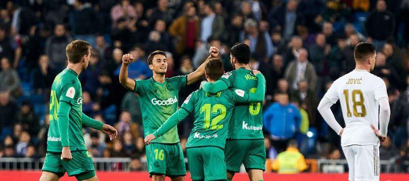 La joie des joueurs du Real Sociedad après leur victoire face au Real Madrid, le 6 février 2020 au stade Santiago Bernabeu.