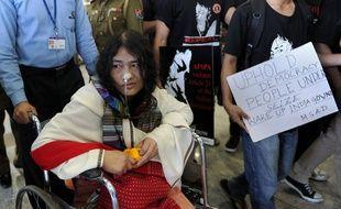 Photographie prise le 3 mars 2013  d'Irom Sharmila, à l'aéroport international Indira Gandhi de New Delhi.