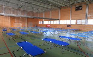 Un gymnase de Strasbourg réquisitionné pour l'accueil de personnes sans abris en 2017. Illustration