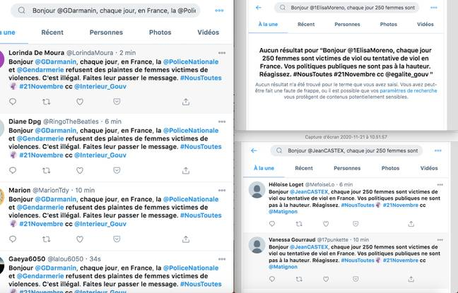 Montage de captures d'écran de recherches associées aux messages de mobilisation de #NousToutes