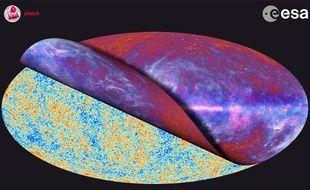 La carte la plus précise du rayonnement cosmologique réalisée par le satellite Planck.