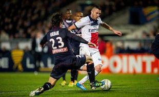 Le joueur du PSG, Jérémy Ménez, lors du match de Coupe de la Ligue à Bordeaux, le 14 janvier 2014.