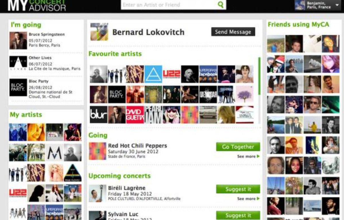 Page d'un utilisateur sur MyConcertAdvisor. – MyConcertAdvisor
