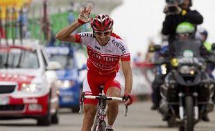 Le coureur français David Moncoutié, lors de sa victoire sur la 11e étape de la Vuelta, le 31 août 2011.