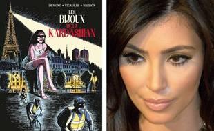 Couverture de la BD Les bijoux de la Kardashian & portrait de Kim Kardashian
