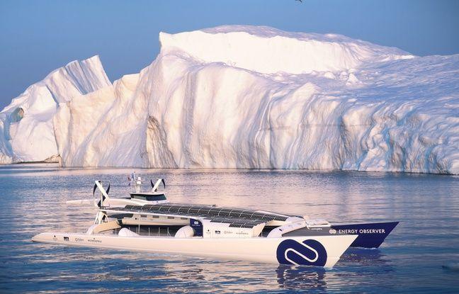 Image de synthèse du bateau Energy Observer naviguant dans les eaux polaires.