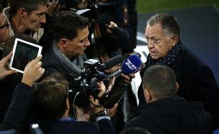Jean-Michel Aulas, mardi lors de sa nouvelle intervention médiatique au Juventus Stadium.