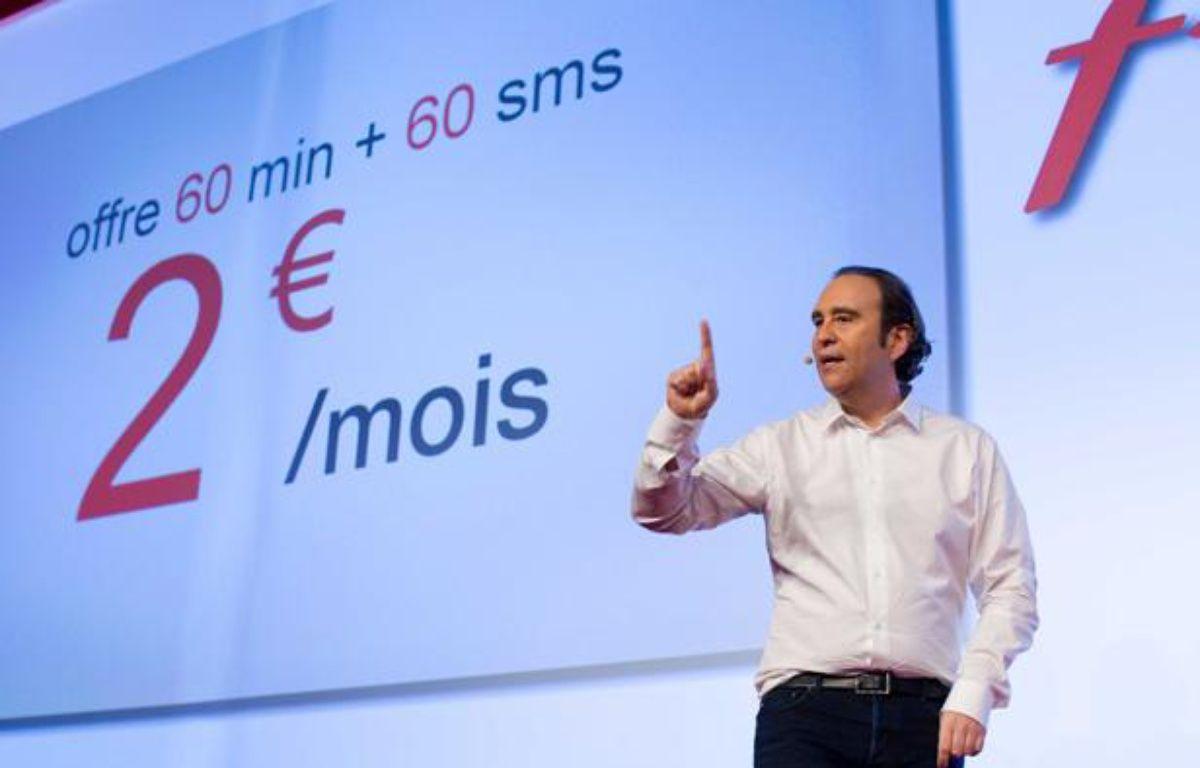 Xavier Niel, le fondateur d'Iliad, lors de la présentation des offres Free Mobile, le 10 janvier 2012. – Jacques Brinon/NBC/AP/SIPA