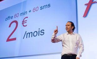 Xavier Niel, le fondateur d'Iliad, lors de la présentation des offres Free Mobile, le 10 janvier 2012.
