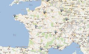 Carte des déplacements de Nicolas Sarkozy pour ses voeux 2012.