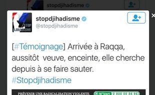 Capture d'écran du tweet du compte lancé par le gouvernement pour lutter contre la propagande djihadiste.