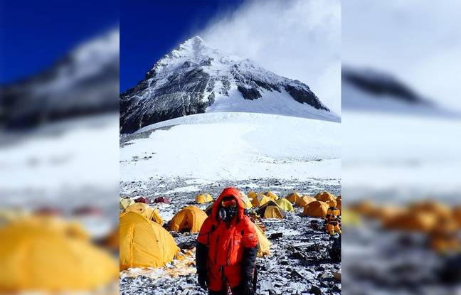 Le lillois Julien Laurent sur le camp n°4 de l'Everest.