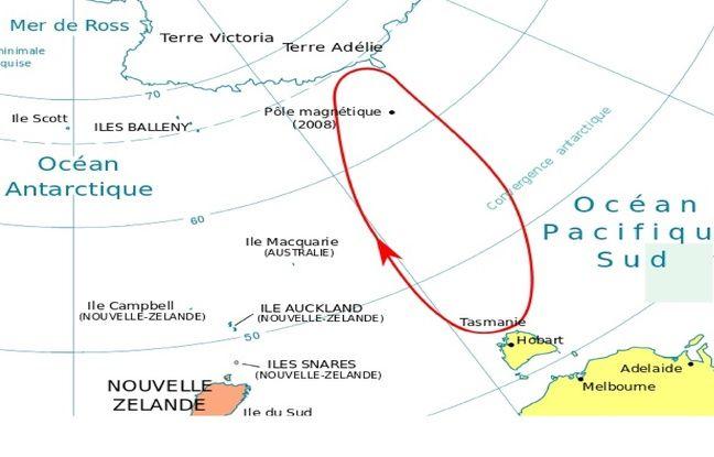 Trajet de l'Astrolabe vers l'Antarctique en 1840.