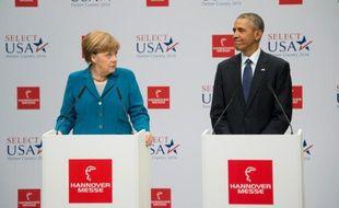 Le président américain Barack Obama et la chancelière allemande Angela Merkel à Hanovre, en Allemagne, le 25 avril 2016
