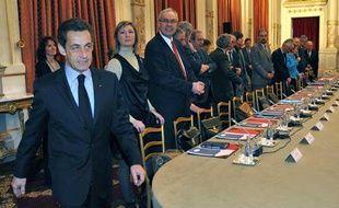 Nicolas Sarkozy a réuni les syndicats le 15 février 2010 lors du sommet social.