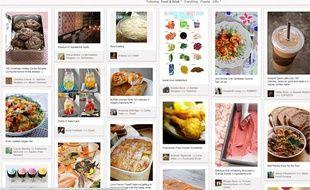 Capture d'écran du site de partage de photos Pinterest.