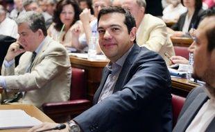 Le Premier ministre grec Alexis Tsipras lors d'une réunion de son groupe parlementaire, le 10 juillet 2015 à Athènes