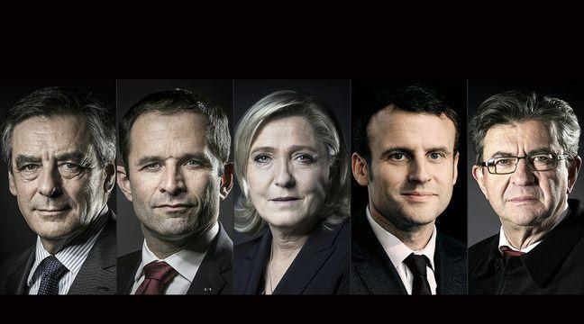 Jean-Luc Mélenchon, Emmanuel Macron, Benoît Hamon, François Fillon et Marine Le Pen participeront lundi 20 mars 2017 au débat sur TF1. – JOEL SAGET / AFP