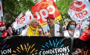 Le cortège lors de la manifestation des soignants le 14 juillet 2020.