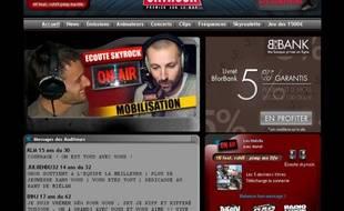Capture d'écran du site de Skyrock, le 13 avril 2011