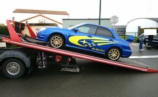 La Subaru Impreza a été confisquée par la gendarmerie.