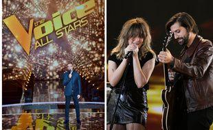 A gauche, Nikos Aliagas sur le plateau de The Voice All Stars, à droite, le groupe Bandit Bandit sur celui de The Artist.