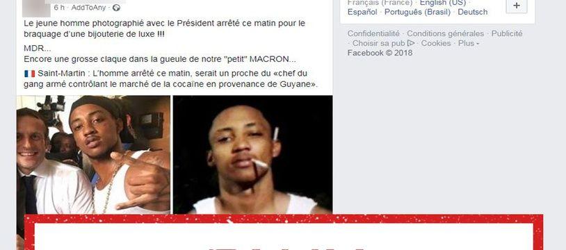 Le jeune homme qui a pris la pose avec Emmanuel Macron est visé par plusieurs fausses informations.