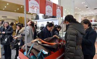 Les soldes aux Galeries Lafayette, à Paris, le 9 janvier 2013