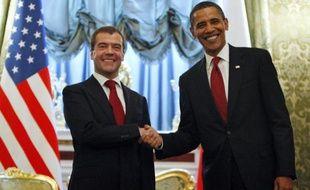 Barack Obama en visite officielle à Moscou, aux côtés de son homologue russe Dmitri Medvedev, le 6 juillet 2009.